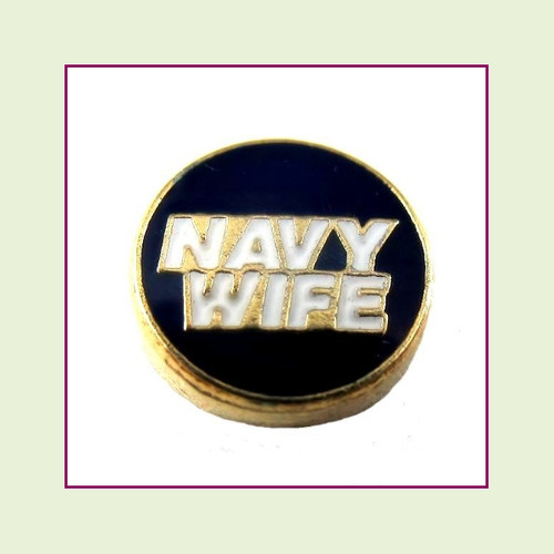 Navy Wife Blue Round (Gold Base) Floating Charm