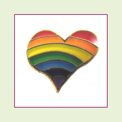 Rainbow Heart (Gold Base) Floating Charm