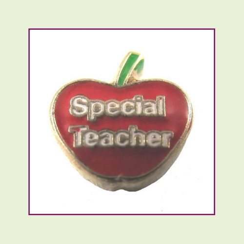 Special Teacher Red Apple (Gold Base) Floating Charm
