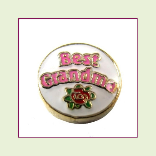 Best Grandma on White Round (Gold Base) Floating Charm