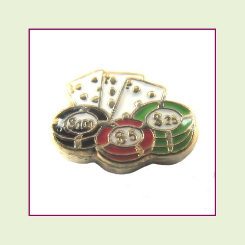 Cards & Casino Chips (Gold Base) Floating Charm