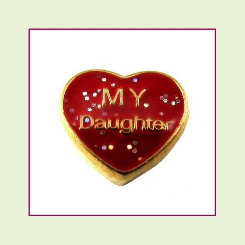 My Daughter on Red Glitter Heart (Gold Base) Floating Charm