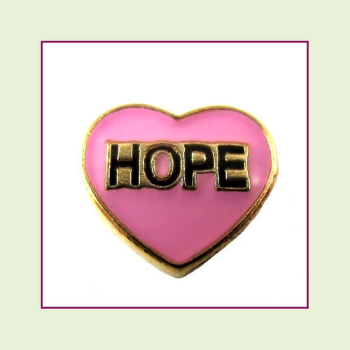 Hope on Pink Heart (Gold Base) Floating Charm