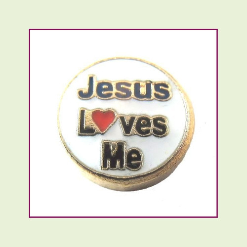 Jesus Loves Me (Gold Base) Floating Charm