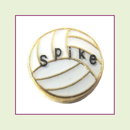 Volleyball Spike (Gold Base) Floating Charm