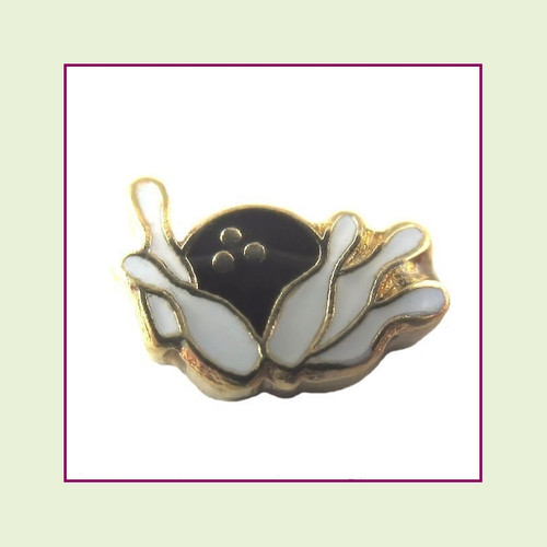 Bowling Ball with 10 Pins (Gold Base) Floating Charm