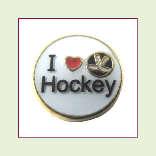 I Love Hockey (Gold Base) Floating Charm