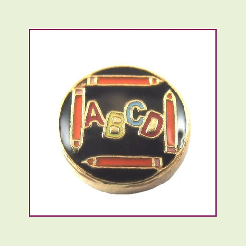 Letters & Pencils (Gold Base) Floating Charm