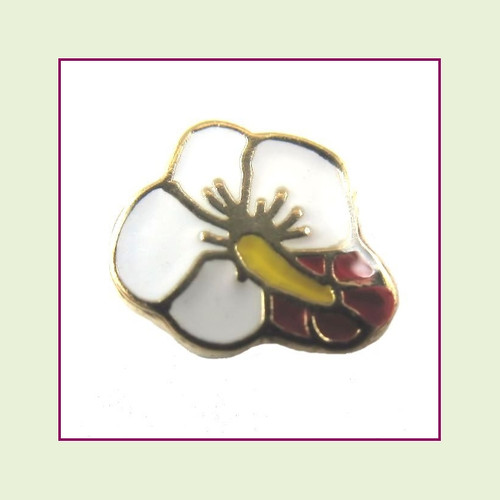 Hibiscus White (Gold Base) Floating Charm