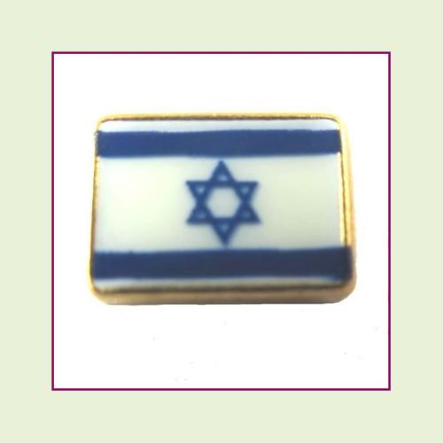 Israel Flag (Gold Base) Floating Charm
