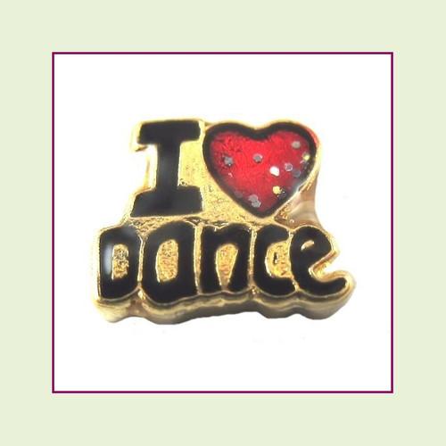 I Love Dance Gold Floating Charm