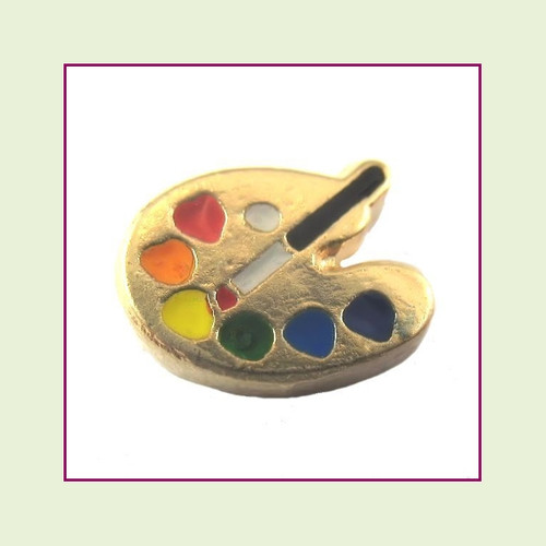 Artist Palette Gold Floating Charm