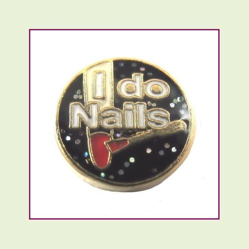 I Do Nails (Gold Base) Floating Charm