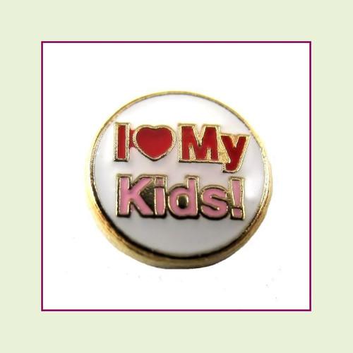I Love My Kids (Gold Base) Floating Charm