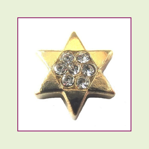 Star of David Gold CZ Floating Charm