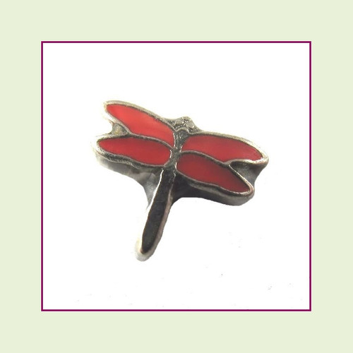 Dragonfly Red (Silver Base) Floating Charm