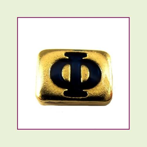 Phi (Gold Base) Floating Charm
