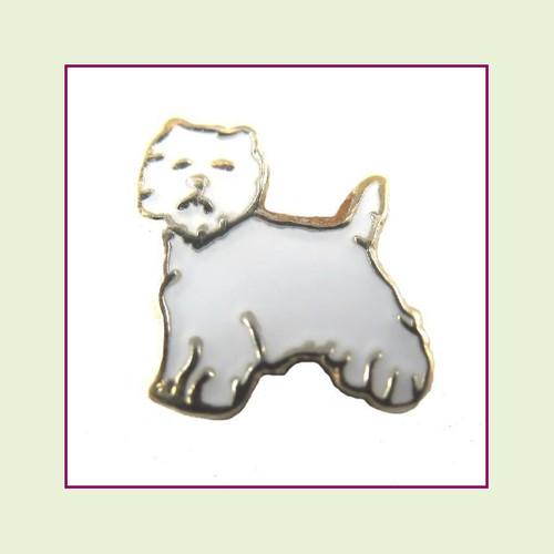 Dog - Westie (Gold Base) Floating Charm
