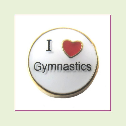I Love Gymnastics (Gold Base) Floating Charm