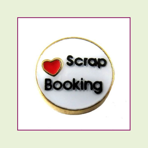Love Scrapbooking (Gold Base) Floating Charm