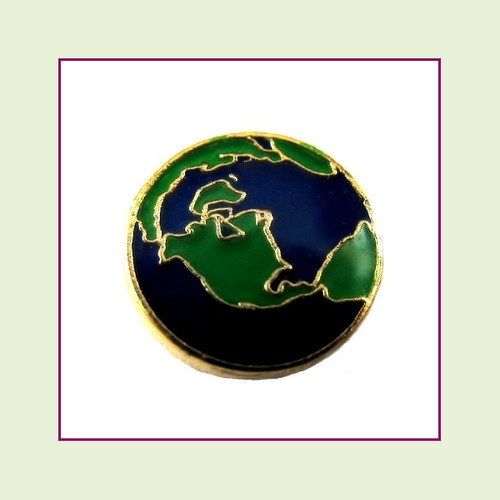 Earth Round (Gold Base) Floating Charm