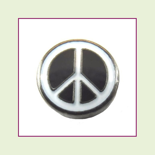 Peace Sign Black Floating Charm