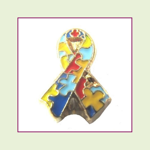 Awareness Ribbon - Autism (Gold Base) Floating Charm