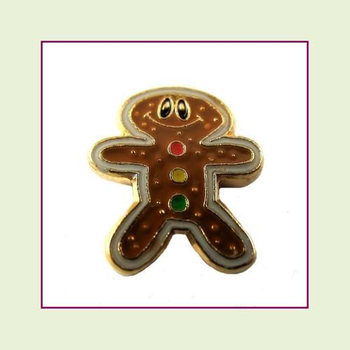 Gingerbread Man #1  (Gold Base) Floating Charm