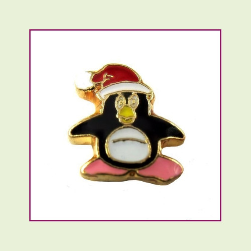Christmas Penguin (Gold Base) Floating Charm