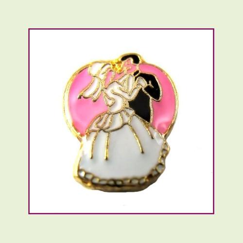 Bride & Groom Pink/White (Gold Base) Floating Charm
