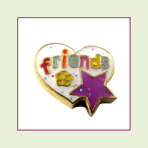 Friends White Heart with Star (Gold Base) Floating Charm