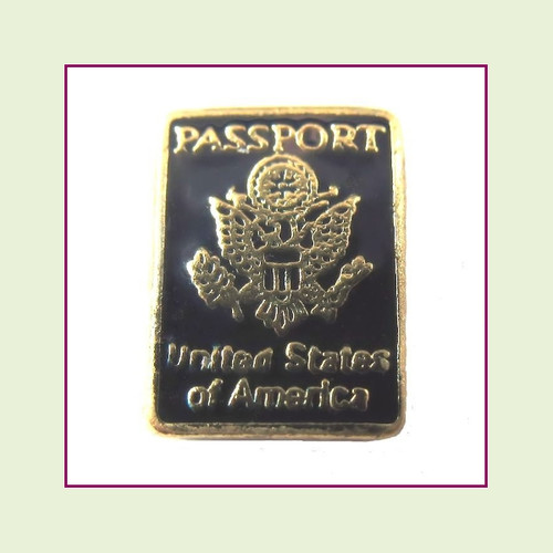 Passport Blue (Gold Base) Floating Charm