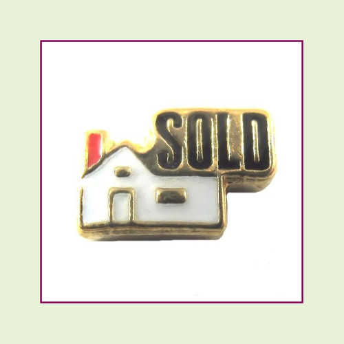 Realtor Sold House (Gold Base) Floating Charm