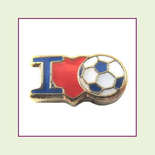 I Love Soccer (Gold Base) Floating Charm
