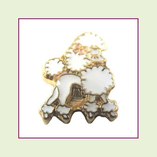Dog - Poodle White (Gold Base) Floating Charm