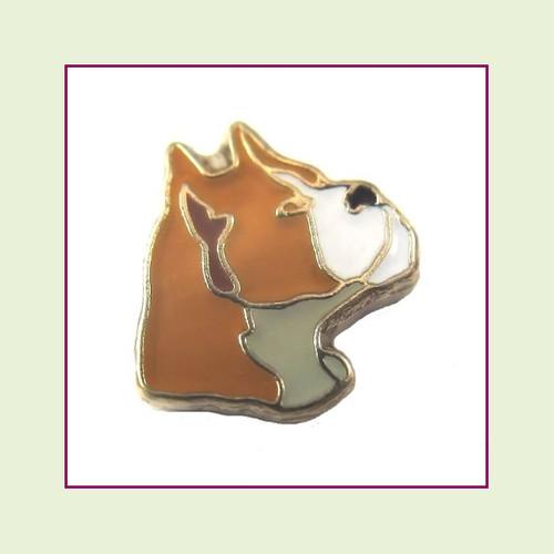 Dog - Boxer (Gold Base) Floating Charm