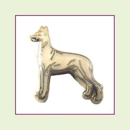 Dog - Great Dane Beige (Gold Base) Floating Charm