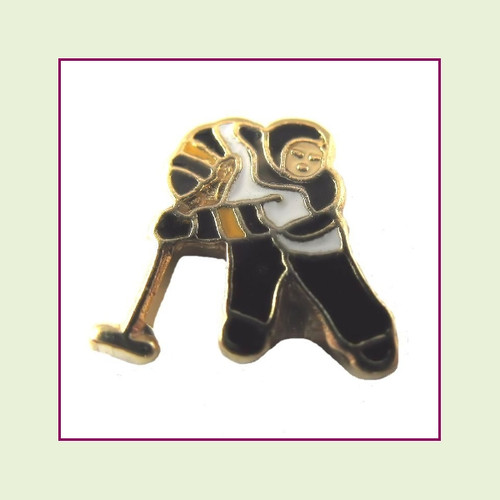 Hockey Player (Gold Base) Floating Charm