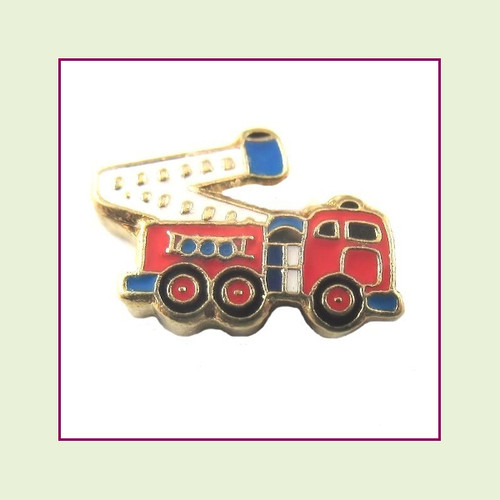 Fire Truck (Gold Base) Floating Charm