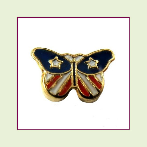 Patriotic Butterfly (Gold Base) Floating Charm