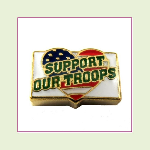 Support Our Troops (Gold Base) Floating Charm