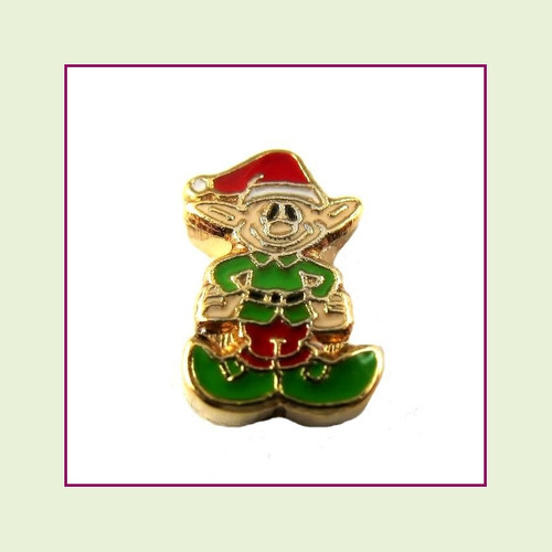 Christmas Elf (Gold Base) Floating Charm