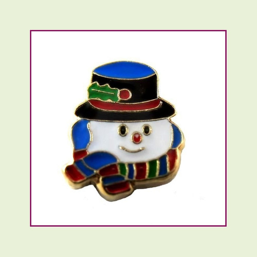 Snowman Head with Scarf (Gold Base) Floating Charm