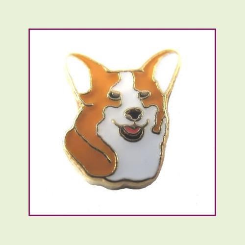 Dog - Corgi Face (Gold Base) Floating Charm