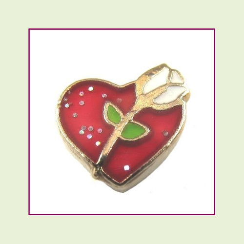 Rose on Red Heart (Gold Base) Floating Charm
