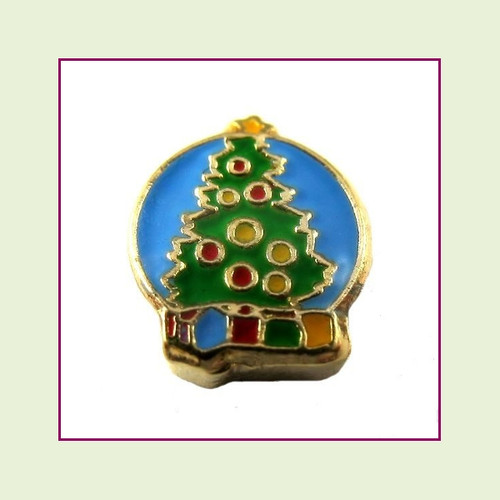 Christmas Tree with Gifts (Gold Base) Floating Charm