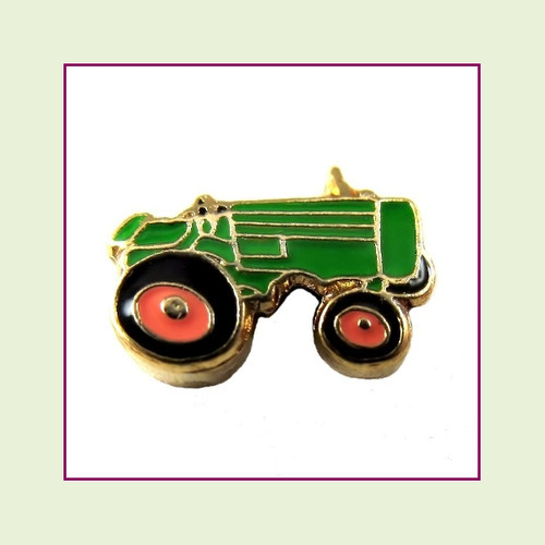 Tractor Green (Gold Base) Floating Charm