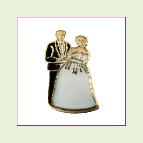 Bride & Groom Black/White (Gold Base) Floating Charm