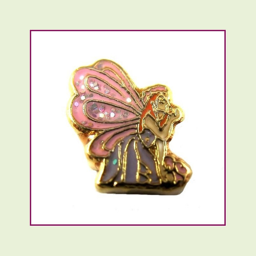 Fairy Pink Glitter Wings (Gold Base) Floating Charm
