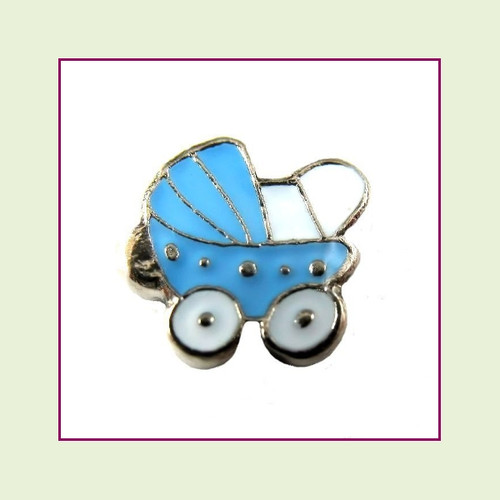 Baby Carriage Blue (Silver Base) Floating Charm